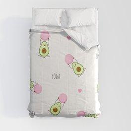 Funny Avocado Pattern , Yoga Sport Comforters
