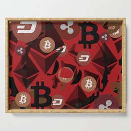 Crypto currency money pink pattern Serving Tray