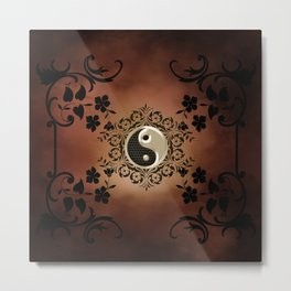 The sign ying and yang with flowers Metal Print