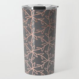Modern abstract floral pattern rose gold on grey graphite cement concrete Travel Mug