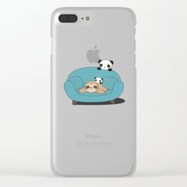 Kawaii Panda and Sloth Clear iPhone Case