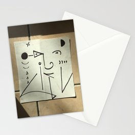 Face  on tiled wall Stationery Cards