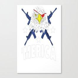 BALD EAGLE BEARING ARMS T-SHIRT Canvas Print