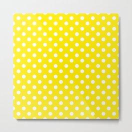 Polka Dot White On Yellow Metal Print