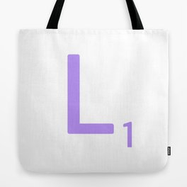 Lavender Monogram Scrabble L Tote Bag