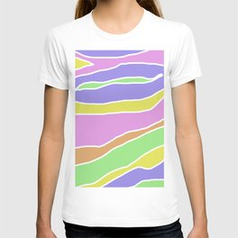 Pastel Current - Pink, blue, yellow and green pastel abstract painting T-shirt