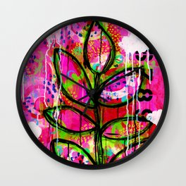 Leaves painting - Abstract Wall Clock