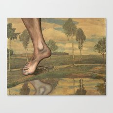 Repainted Thrift Store Painting - Foot Stomp Canvas Print