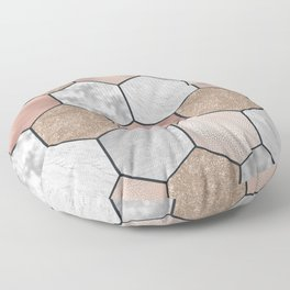 Marble hexagons and rose gold on black Floor Pillow