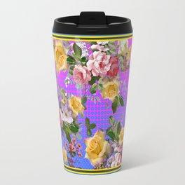 Cerailan Blue-Purple Yellow Rose Floral Garden . Travel Mug