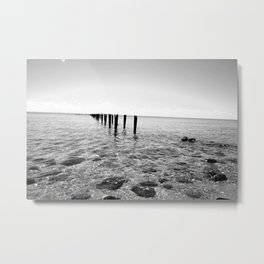 Black And White Ocean View Metal Print
