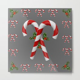 RED-WHITE  CHRISTMAS CANDY CANES HOLLY BERRIES Metal Print