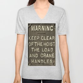 VICTORIAN WARNING SIGN KEEP CLEAR IN SEPIA Unisex V-Neck