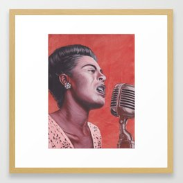 Ladies in Red: Billie Holiday Framed Art Print