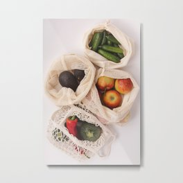 Fresh organic fruits and vegetables in cotton eco bags Metal Print