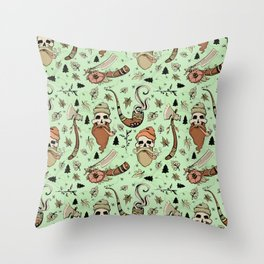 Green LumberJack Throw Pillow