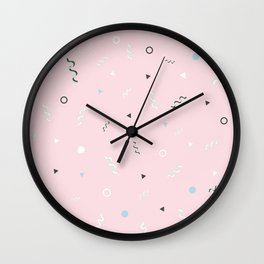 Messy Pattern_Pink Version Wall Clock