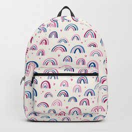 Little rainbows 02, pink and blue with hearts Backpack