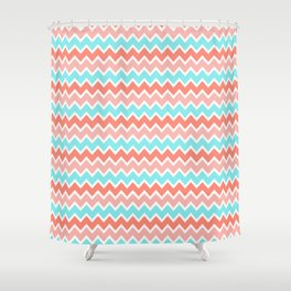 Coral Peach Pink and Aqua Turquoise Blue Chevron Shower Curtain