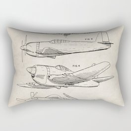 Wedberg Airplane Patent - Us Air Force Art - Antique Rectangular Pillow