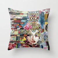 marie antoinette Throw Pillows featuring Marie Antoinette by Katy Hirschfeld