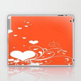 White Valentine Hearts On Red Background Laptop & iPad Skin