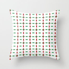 Christmas vector red and green horizontal and vertical stitches aligned on white background seamless Throw Pillow