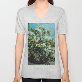 Gustave Courbet - Flowering Branches And Flowers Unisex V-Neck