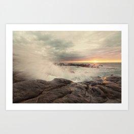 Amazing waves at sunset Art Print