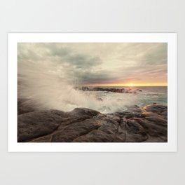 Amazing waves at sunset Art Print