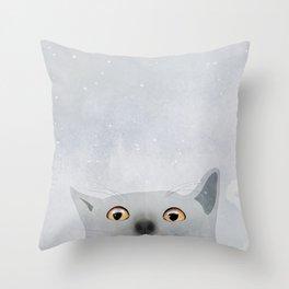 Curious Grey Cat Throw Pillow