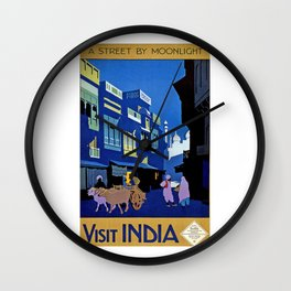 India, vintage travel poster Wall Clock