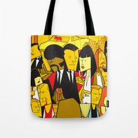 pulp fiction Tote Bags featuring Pulp Fiction by Ale Giorgini