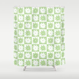 Green And White Checkered Flower Pattern Shower Curtain