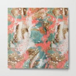 Modern Abstract Painting. Living Coral Pantone 2019 Metal Print