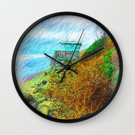 Life Guard Station Nestled By The Bluff Wall Clock