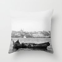 boat Throw Pillows featuring Boat by kartalpaf