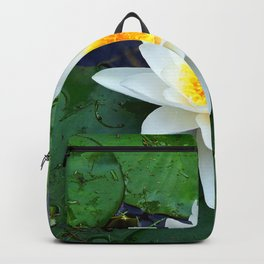 Bright White Lily with Yellow center Backpack