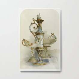 Group of enamelled objects from the Industrial arts of the Nineteenth Century (1851-1853) by Sir Mat Metal Print