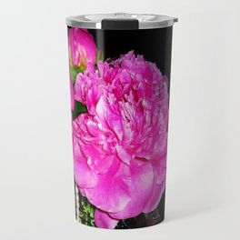Peony Bouquet in a Crystal Vase Travel Mug