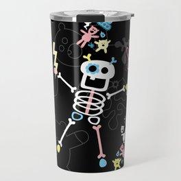 Crazy MonkeyTeddyBears with Skeleton - Pastel on Black Pattern Travel Mug