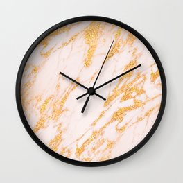 Gold Marble - Shimmery Glittery Rose Gold Marble Metallic Wall Clock