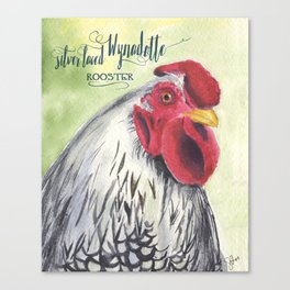 Silver Laced Wyandotte Rooster Canvas Print