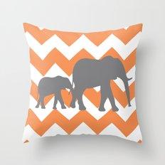 Chevron Elephants (orange and grey) Throw Pillow