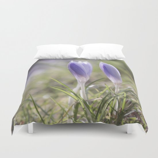 Crocuses at early backlight - Blue flowers - flower Duvet Cover