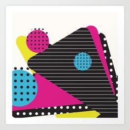 Bakersfield 1989 - Memphis Throwback Retro 1980s 80s Trendy Hipster Pattern Neon Art Print