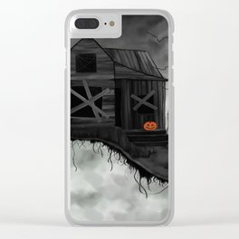 Haunted House and Jolly Pumpkin Clear iPhone Case