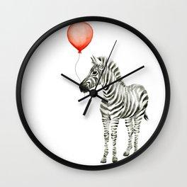 Baby Zebra Whimsical Animal with Red Balloon Nursery Art Wall Clock