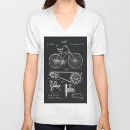 Vintage Bicycle patent illustration 1890 Unisex V-Neck