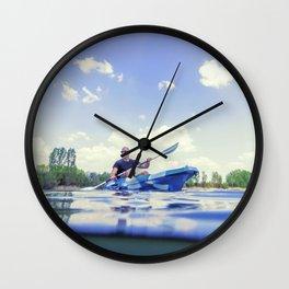 Young Man Kayaking on Lake, Kayaking Underwater View, Split Shot. Wall Clock
